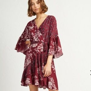 French Connection ELLETTE CREPE FRILL WRAP DRESS